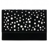 Black velvet clutch with crystals THE DAZZLING KIMMY