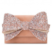 190x135 mm pink suede clutch with bow accessory CHARLOTTE