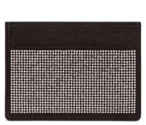 Black suede cardholder with silver studs BLAKE