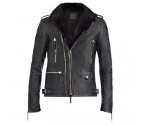 Black embossed-crocodile leather jacket with mink fur inserts CORNELIUS