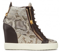 Embossed-python leather wedge sneaker DEVON