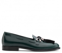 Green calfskin leather loafer with metal and tassels accessory JEAN-PIERRE