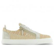 Pink crocodile embossed calfskin leather low-top sneaker FRANKIE