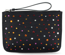 Fabric clutch with multicolour crystal CHAYA