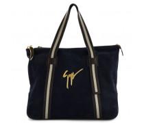 Blue calfskin leather handbag FINN