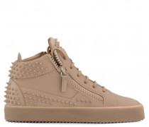 Beige calfskin sneaker with studs KRISS STUDS