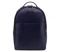 Blue calfskin leather backpack with logo BOSTON