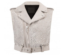 Pearl grey suede vest jacket with crystals NEW AMELIA