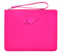 Saturated fuchsia calfskin leather clutch MISS UNFINISHED