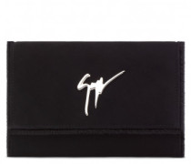 Black suede clutch with logo LORY