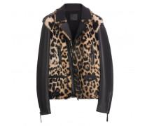 Leopard rabbit fur jacket with nappa inserts DOUG