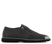 Black printed calfskin leather loafer with metal tip COOPER