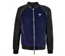 Blue printed velvet bomber jacket with nappa inserts LANCE