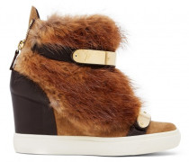 Beige suede wedge sneaker with brown faux-fur TIANA