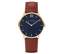 Uhr Sailor Line Blue Lagoon IP Gold Lederarmban...