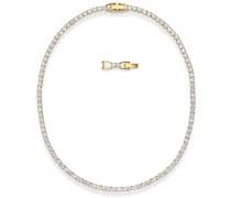 Tennis Deluxe Halskette, weiß, vergol...