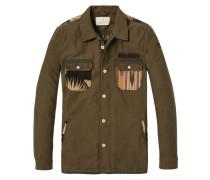 Shirt-Jacke aus Textil-Mix