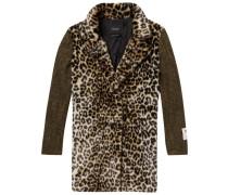 Mantel mit Kontrastärmeln und Leoparden-Print