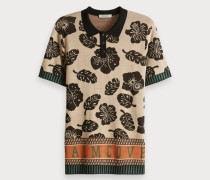 Poloshirt mit botanischem Mixmuster