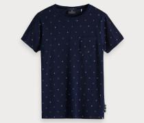 Indigoblaues T-Shirt mit Print