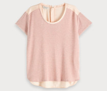 T-Shirt mit Webstoffeinsatz hinten