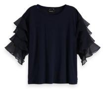 Woven Ruffled Sleeve T-Shirt
