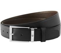 Montblanc Rechteckige Schildschließe aus schwarzem 4810 Westside Leder und glänzender Ruthenium- und Roségoldbeschichtung