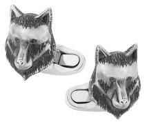 Manschetteknöpfe mit Wolfkopfmotiv aus Sterlingsilber
