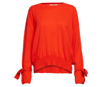 Cashmere Blend Relaxed Fit Rundhalspullover With Ties At Sleev Strickpullover Orange