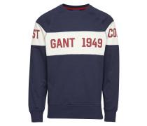 Smu. Gant Chest Stripe C-Neck Langärmliger Pullover Blau GANT