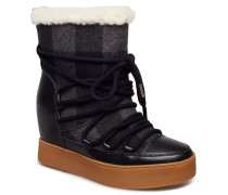 Trish Check Wool Boots Knöchelhohe Stiefel Schwarz SHOE THE BEAR