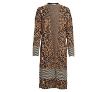 Longer Length Cardigan In Animal & Geo Pattern, With Buckle