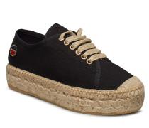 Branco Lace Up Espadrilles Shoes Sandalen Espadrilles Flach Schwarz BUSNEL