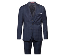 Wool Check Slim Fit 3 Piece Suit Anzug Blau TOMMY HILFIGER TAILORED