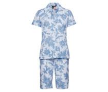 Lrl Notch Collar Bermuda Pj Set Pyjama Blau