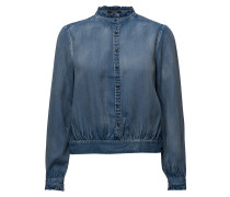 Tencel Top With Ruffles And Denim Detailing
