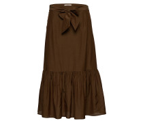 Belted Midi Length Skirt In Sheer Viscose Quality Knielanges Kleid Braun SCOTCH & SODA