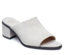Town Mule Suede Sandale Mit Absatz Weiß