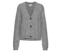 Soft Wool Strick-Cardigan Cardigan Strickpullover Grau