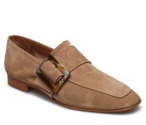 Vienna Black Nappa Loafers Flache Schuhe Beige FLATTERED