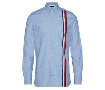 Slim Global Stripe S Hemd Casual Blau