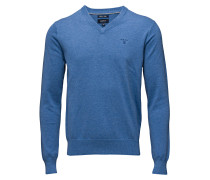 Lt. Weight Cotton V-Neck Strickpullover V-Ausschnitt Blau