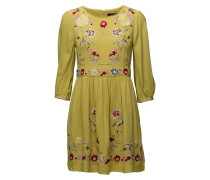Saya Crepe Roundneck Flared Dress Kurzes Kleid Gelb FRENCH CONNECTION