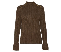 Cosy Pullover Knit With Tonal Press Buttons At Shoulders Strickpullover Braun