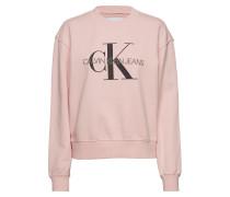 Monogram Washed Crew Neck Langärmliger Pullover Pink