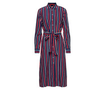 O1. Fluid Striped Dress Kleid Knielang Blau GANT