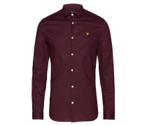 Ls Slim Fit Popeline-Hemd Hemd Casual Rot