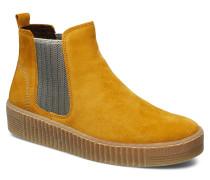 Ankle Boots Stiefelette Ohne Absatz Gelb