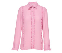 Shirt With Ruffles And Shell Fabric Bow