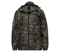 Moss Print Zip Through Hooded Jacket Dünne Jacke Grün LYLE & SCOTT